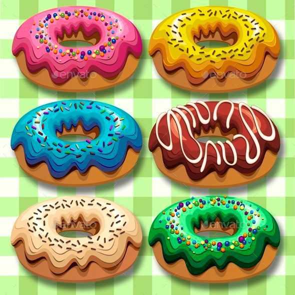 GraphicRiver Donuts 6 Flavours Set 8934445