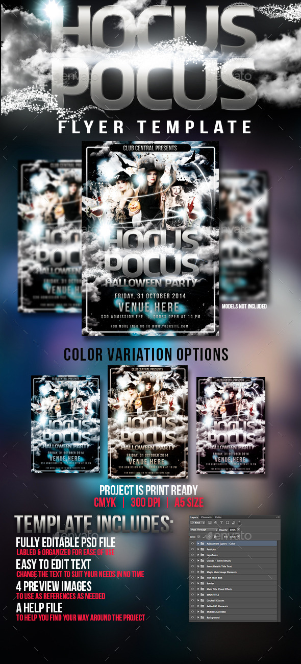 GraphicRiver Hocus Pocus Halloween Party Flyer Template 8894360