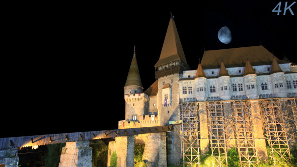 Moon Over An Old Castle At Night 1