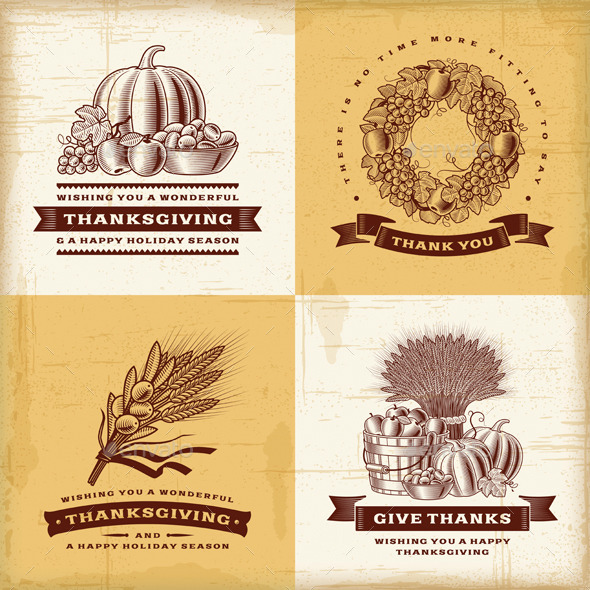 GraphicRiver Vintage Thanksgiving Labels Set 8934717
