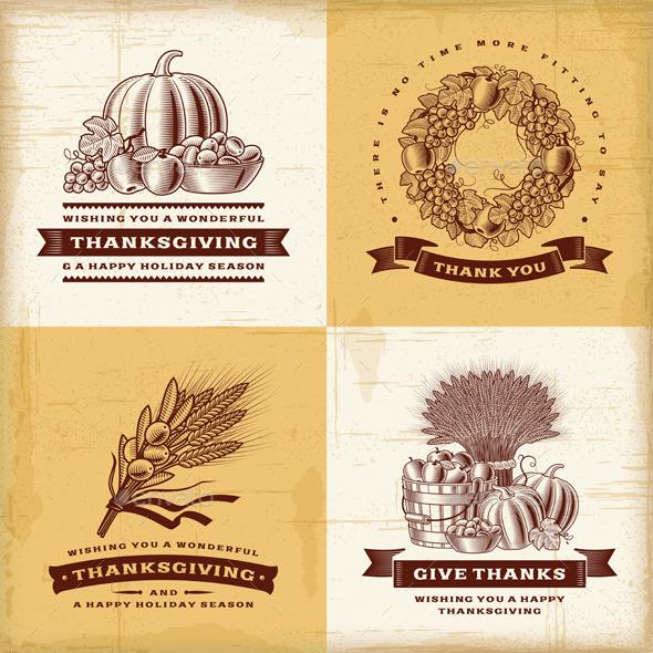 Vintage Thanksgiving Labels Set