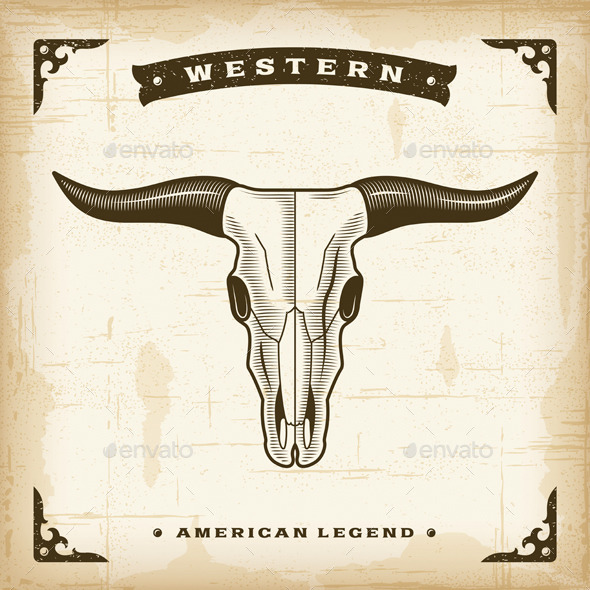 GraphicRiver Vintage Western Bull Skull 8934742