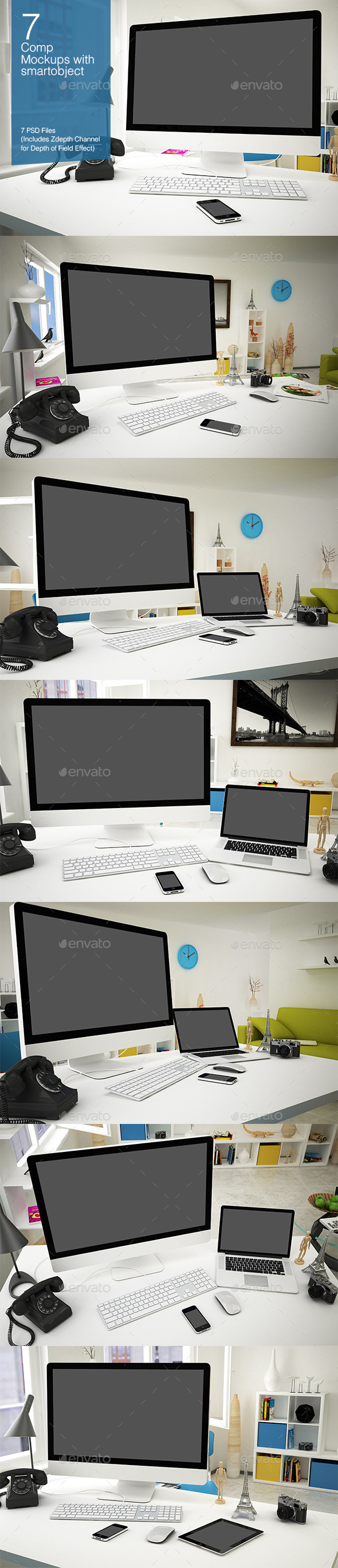 GraphicRiver Computer Mockup 7 Poses 8927372