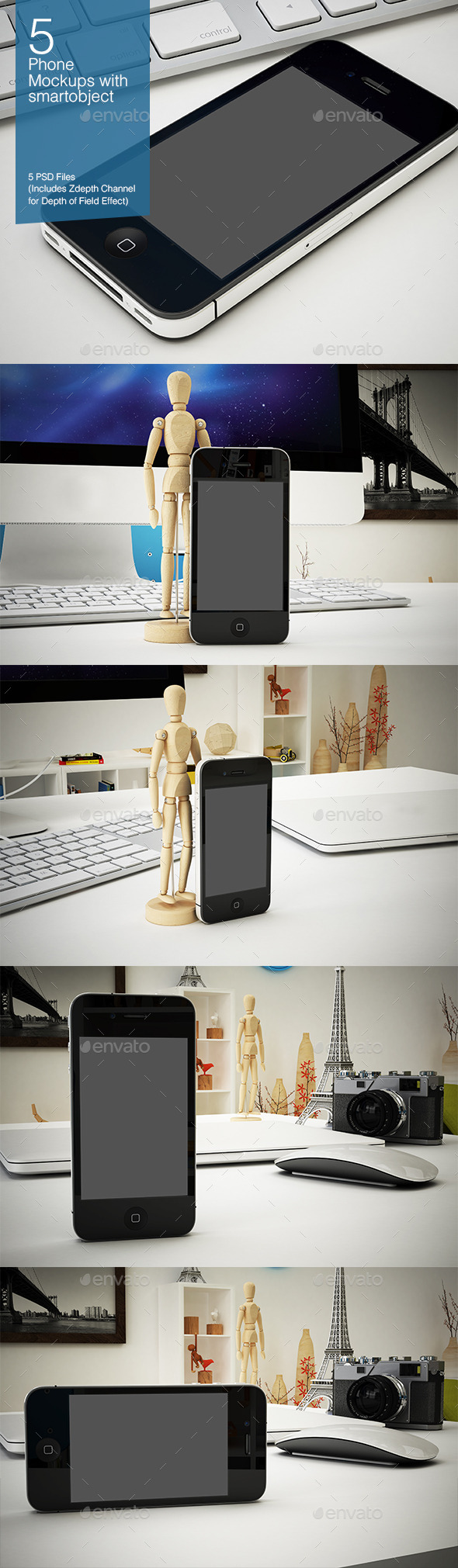 GraphicRiver Phone Mockup 5 Poses 8927374