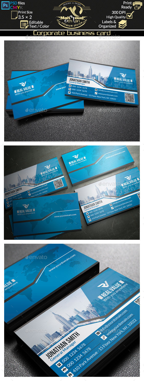 GraphicRiver Modern Blue Business Card 45 8934880