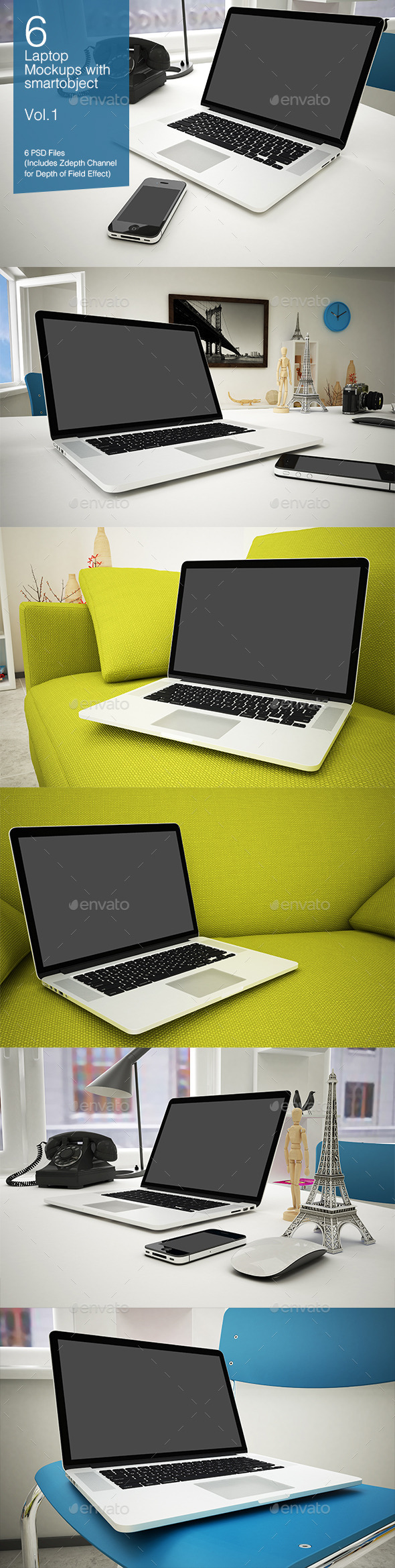 GraphicRiver Laptop Mockup 6 Poses Vol.1 8927410
