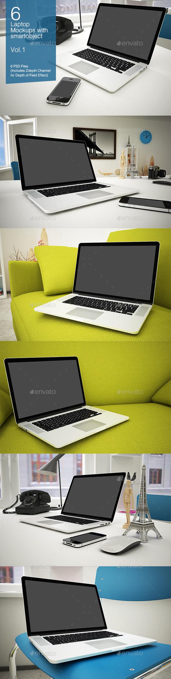 GraphicRiver Laptop Mockup 6 Poses Vol.1 8927410