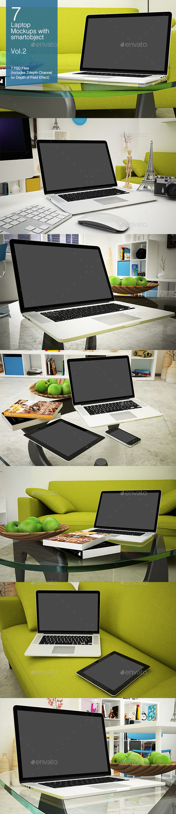 GraphicRiver Laptop Mockup 7 Poses Vol.2 8927426