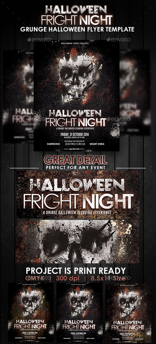 GraphicRiver Halloween Fright Night Grunge Flyer Template 8934944