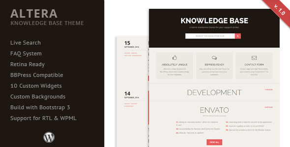 ThemeForest Altera Knowledge Base Wordpress Theme 8934997