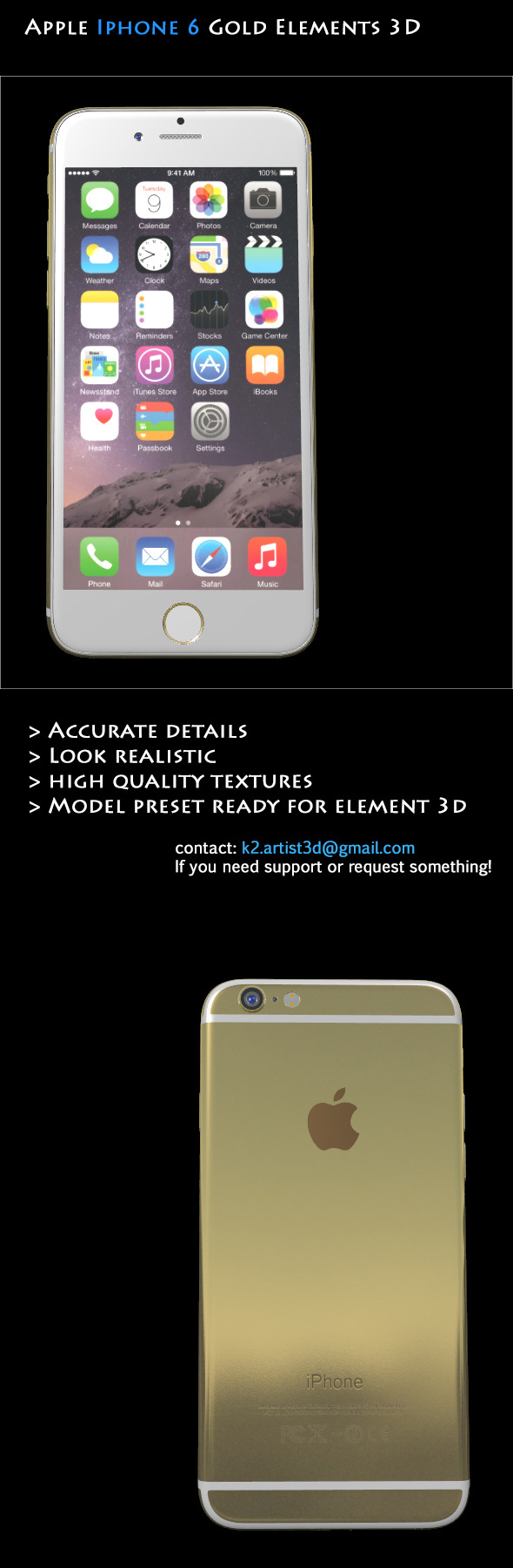 Element3D - Apple Iphone 6 Gold - 3DOcean Item for Sale
