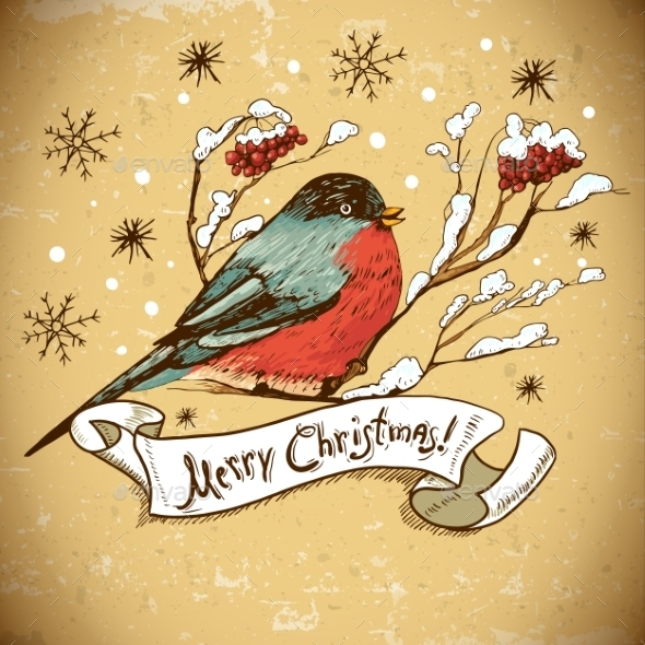 GraphicRiver Christmas Greeting Card with Bullfinches 8935395