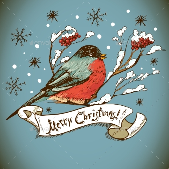 GraphicRiver Christmas Greeting Card with Bullfinches 8935397