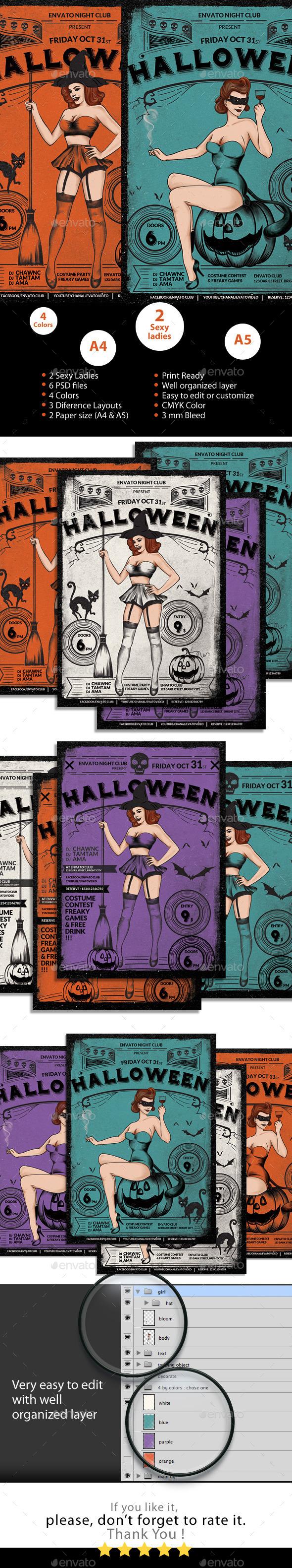 Halloween Sexy Vintage Grunge Flyer