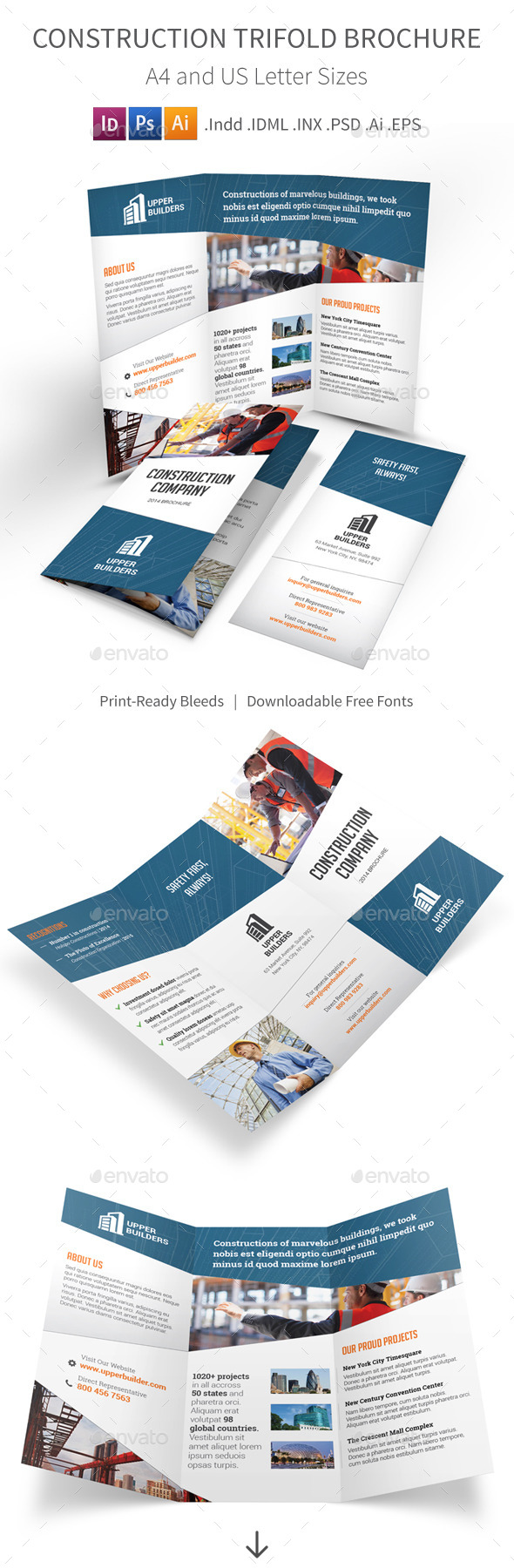 GraphicRiver Construction Company Trifold Brochure 8935684