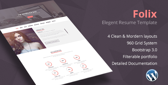 ThemeForest Folix Resume Personal Portfolio Wordpress Theme 8841925