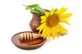 clay dish with honey drizzler and flowers sunflowers - PhotoDune Item for Sale