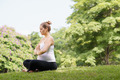 pregnant woman mother belly relaxing park yoga prayer - PhotoDune Item for Sale