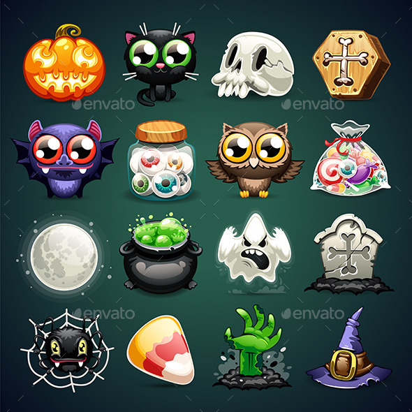 GraphicRiver Halloween Cartoon Icons Set 8929305