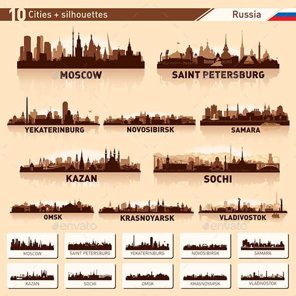 GraphicRiver City Skyline Set Russia Vector Silhouettes 8936368