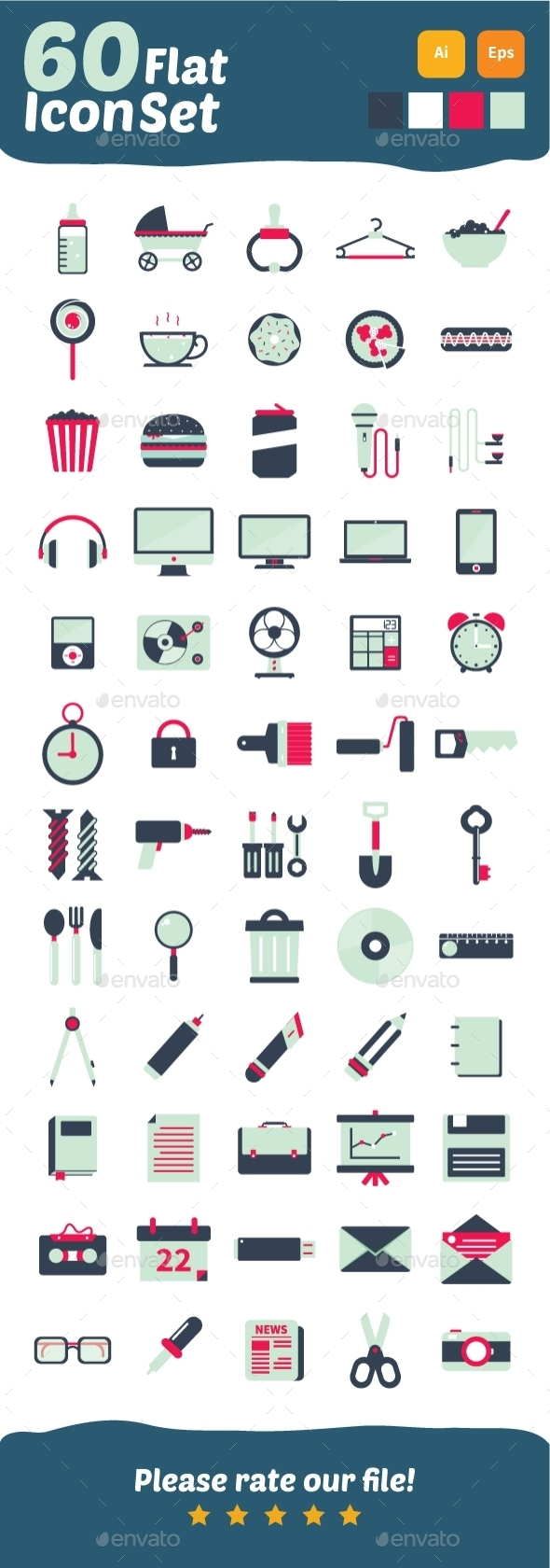 60 Flat Icons Design