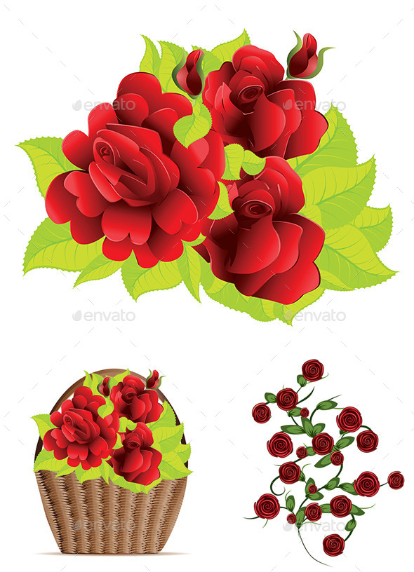 GraphicRiver Red Roses with Leaves 8936638