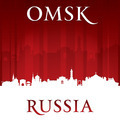 Omsk Russia city skyline silhouette red background - PhotoDune Item for Sale