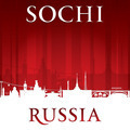 Sochi Russia city skyline silhouette red background - PhotoDune Item for Sale