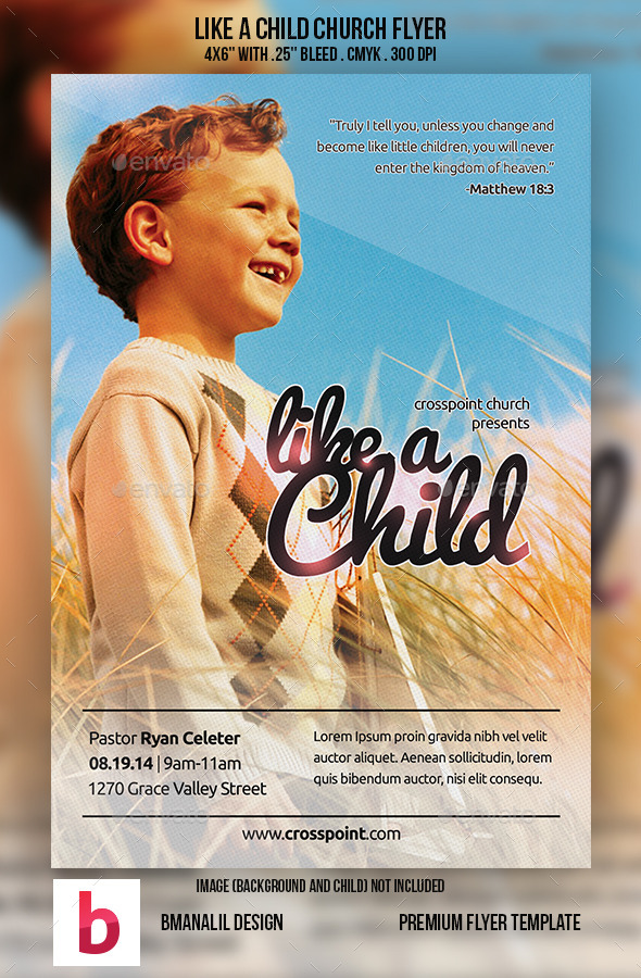 GraphicRiver Like a Child Church Flyer 8927879