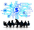 Business People in a Meeting and Global Finance Symbols Above