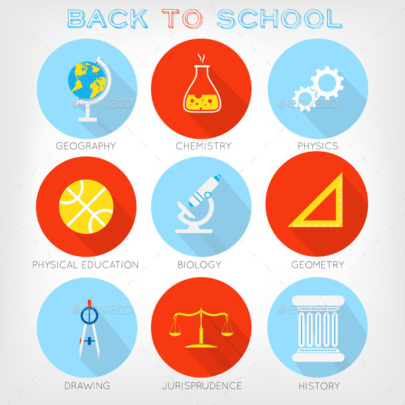 GraphicRiver Set of Flat-Styled Icons of School Subjects 8930840