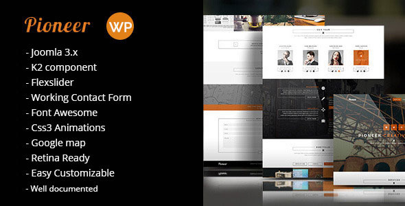 ThemeForest Pioneer One Page Joomla template 8937166