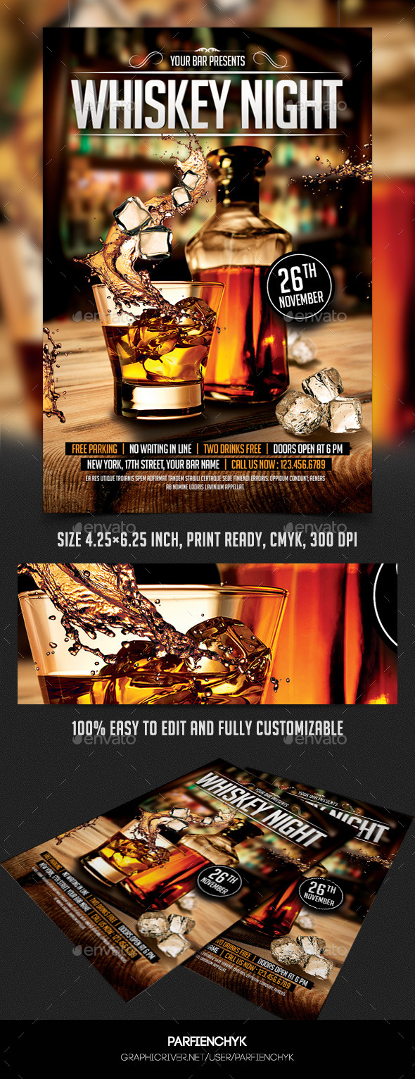 GraphicRiver Whiskey Night Flyer Template 8937625
