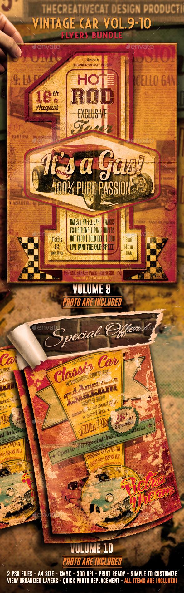 GraphicRiver Vintage Car Flyer Poster Bundle Vol 9-10 8937689