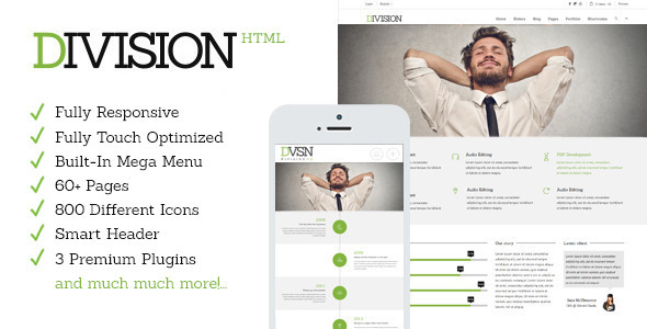 ThemeForest Division Responsive HTML Multi-Purpose Theme 8924106