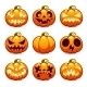 Halloween Cartoon Pumpkins Icons Set - GraphicRiver Item for Sale