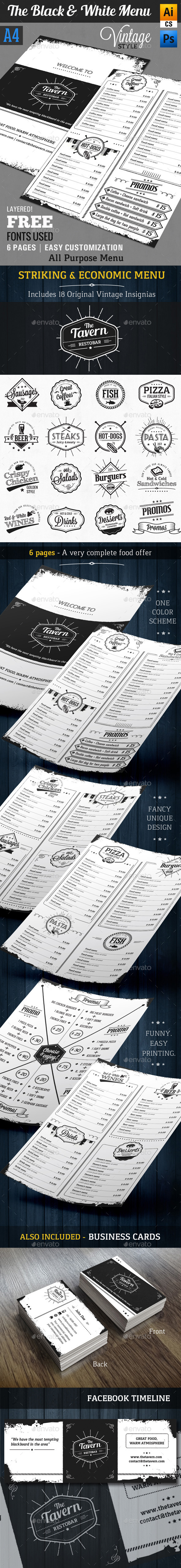 GraphicRiver The Black and White Menu A4 Vintage Style 8925005
