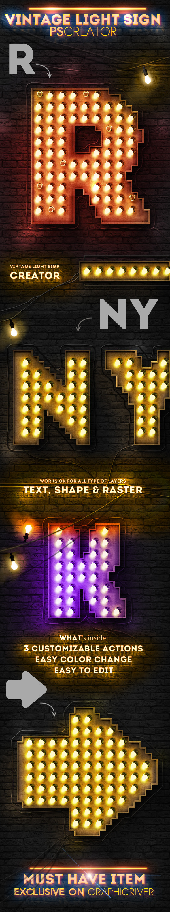 GraphicRiver Vintage Light Bulb Sign Photoshop Creator 8937839