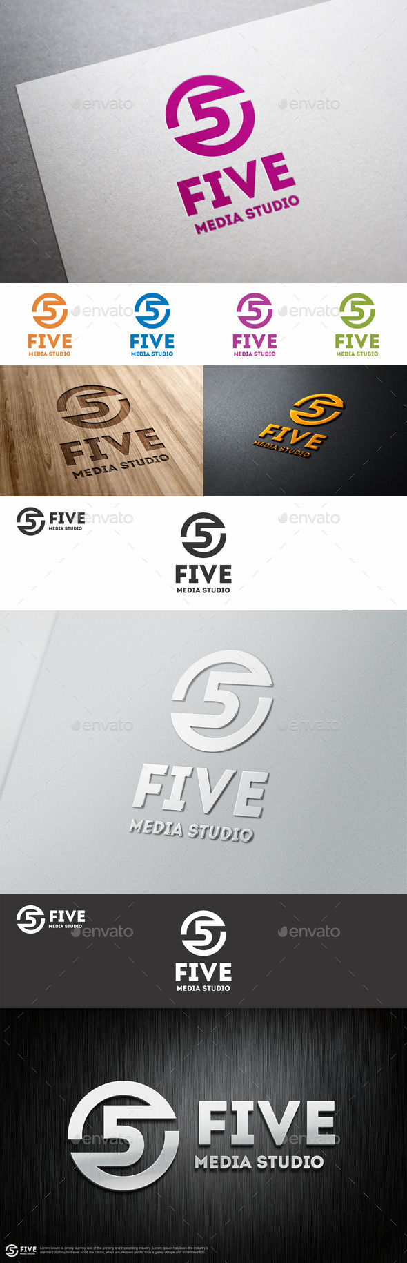 GraphicRiver Five Media Studio Logo Template 8939152
