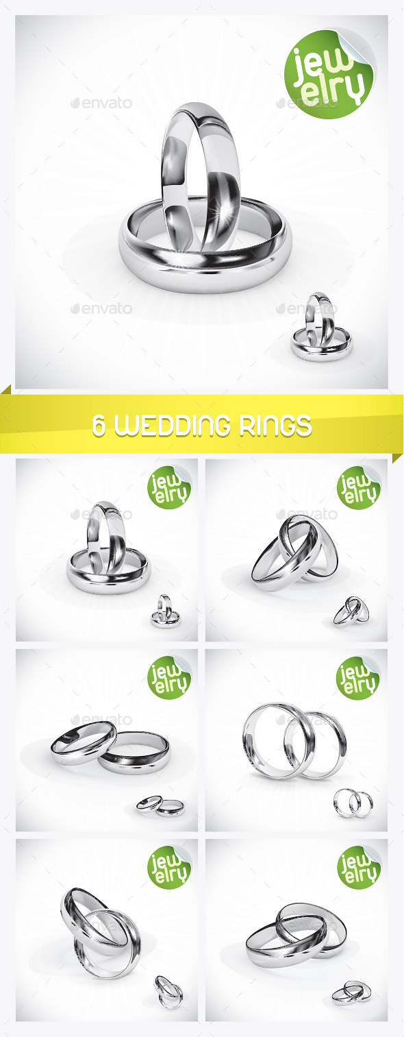 GraphicRiver 6 Silver Wedding Rings 8939482