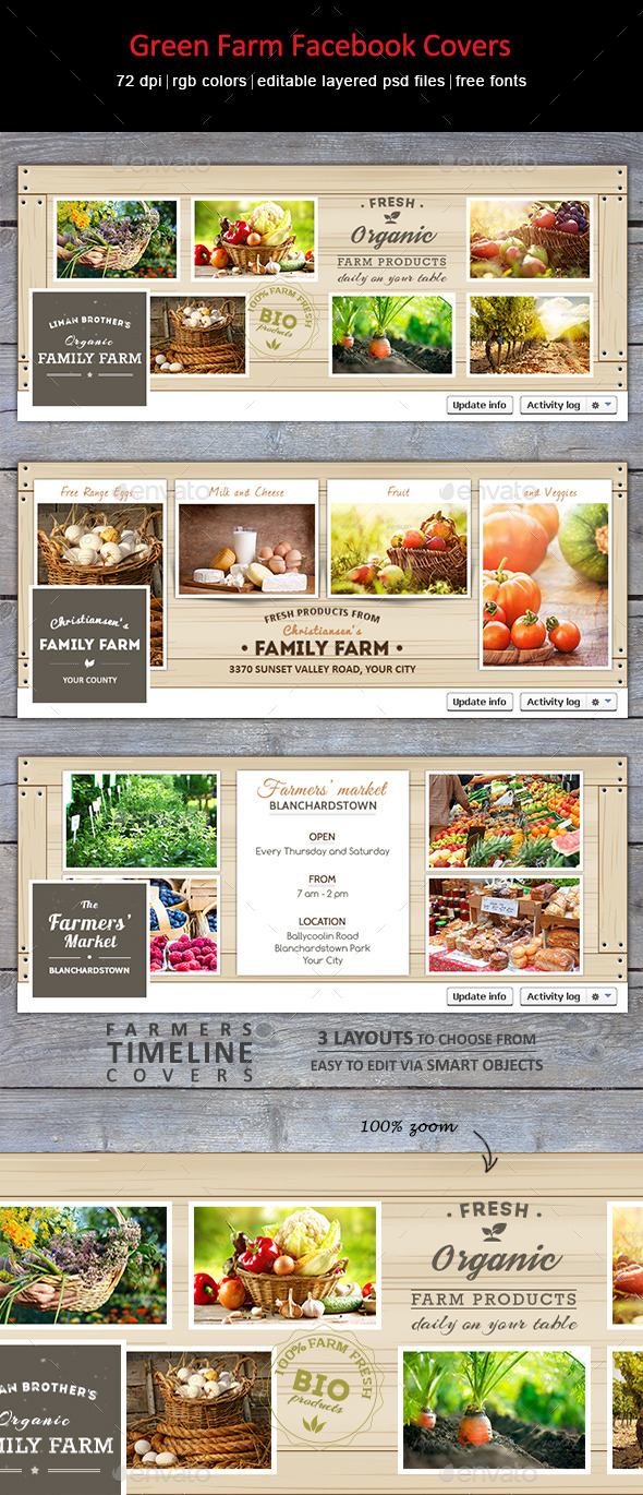 GraphicRiver Green Farm Facebook Covers 8939564