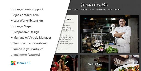 ThemeForest Steakhouse Responsive Retina Joomla Restaurant 8939625