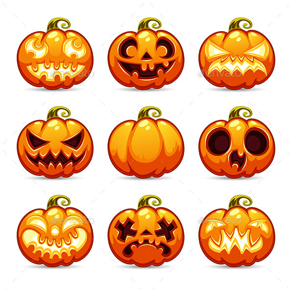 GraphicRiver Halloween Cartoon Pumpkins Icons Set 8937714