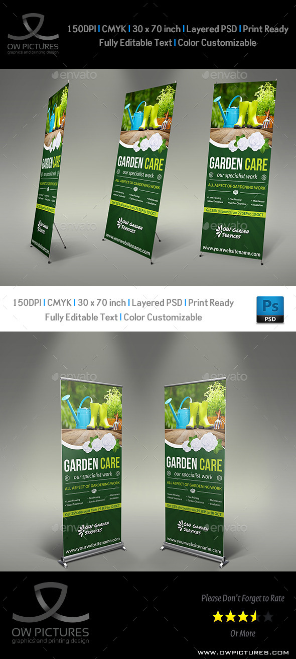 GraphicRiver Garden Signage Roll-Up Banner Template 8941370