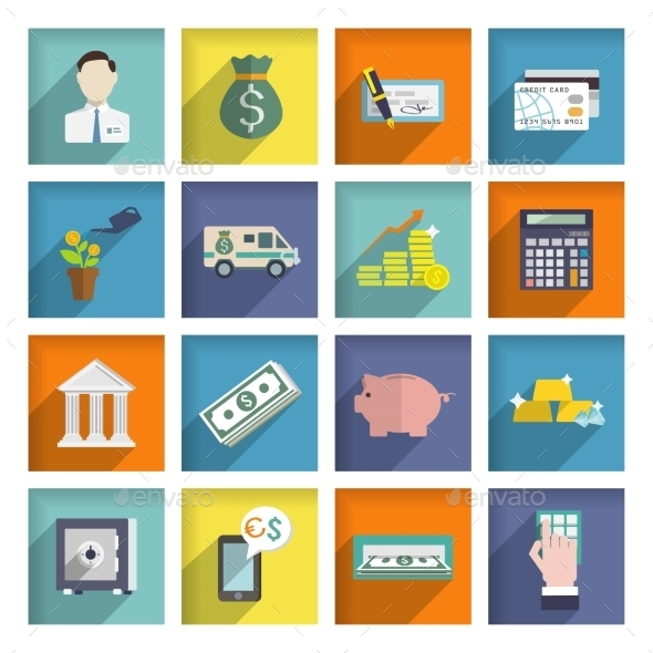 GraphicRiver Bank Service Icons Flat Set 8941383