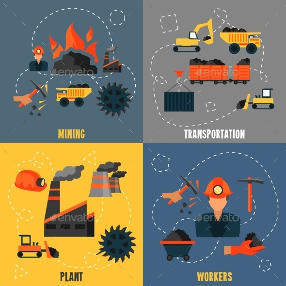 GraphicRiver Coal Industry Flat Set 8941421