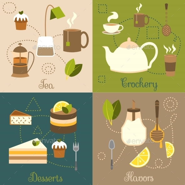 GraphicRiver Tea Flat Set 8941422