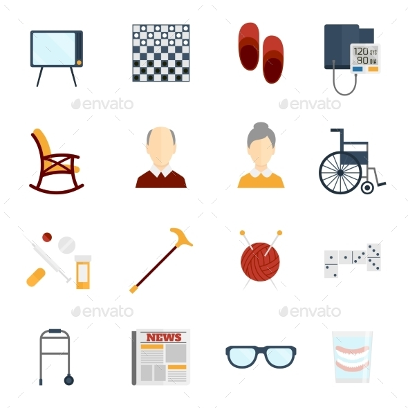 GraphicRiver Pensioners Life Icons Flat 8941431