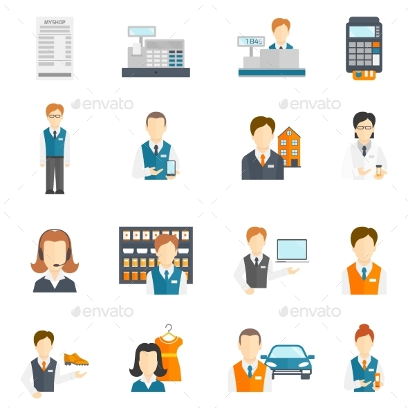 GraphicRiver Set Icons Salesman Flat 8941436
