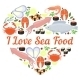I Love Seafood Vector Heart Design - GraphicRiver Item for Sale